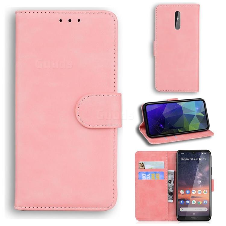 Retro Classic Skin Feel Leather Wallet Phone Case for Nokia 3.2 - Pink