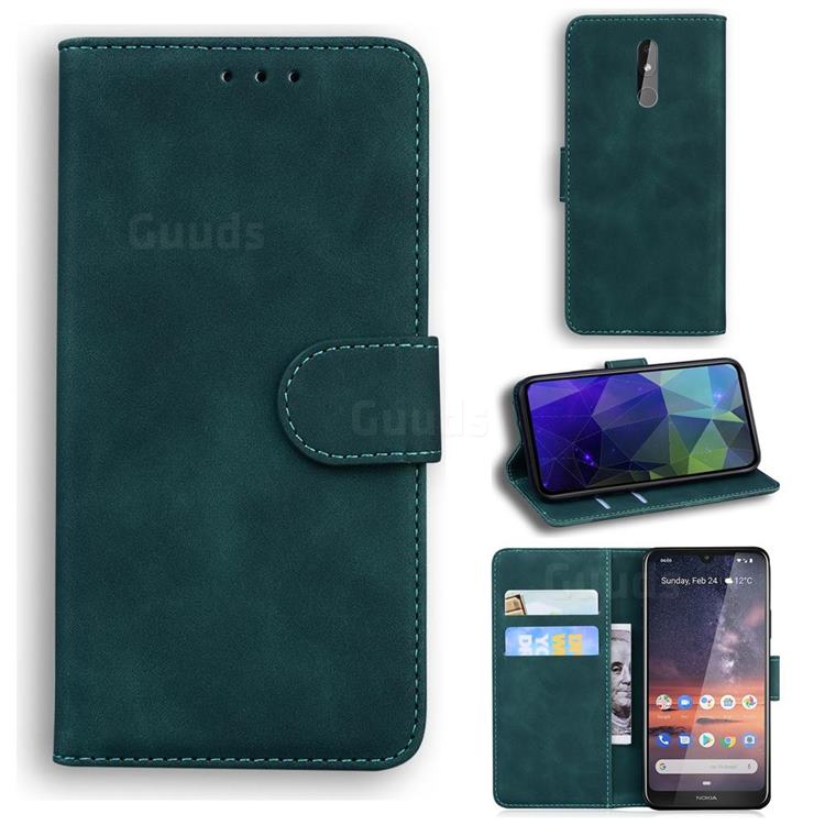 Retro Classic Skin Feel Leather Wallet Phone Case for Nokia 3.2 - Green