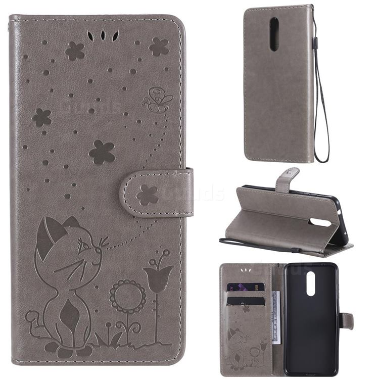 Embossing Bee and Cat Leather Wallet Case for Nokia 3.2 - Gray