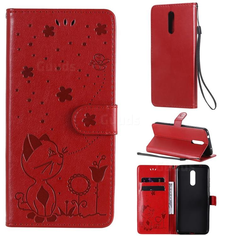 Embossing Bee and Cat Leather Wallet Case for Nokia 3.2 - Red