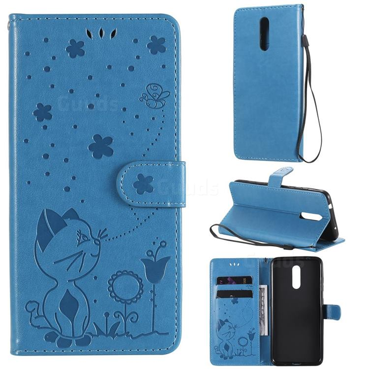 Embossing Bee and Cat Leather Wallet Case for Nokia 3.2 - Blue