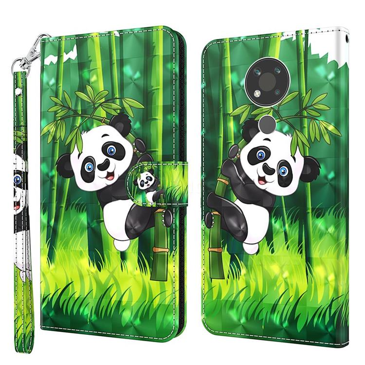 Climbing Bamboo Panda 3D Painted Leather Wallet Case for Nokia 3.4