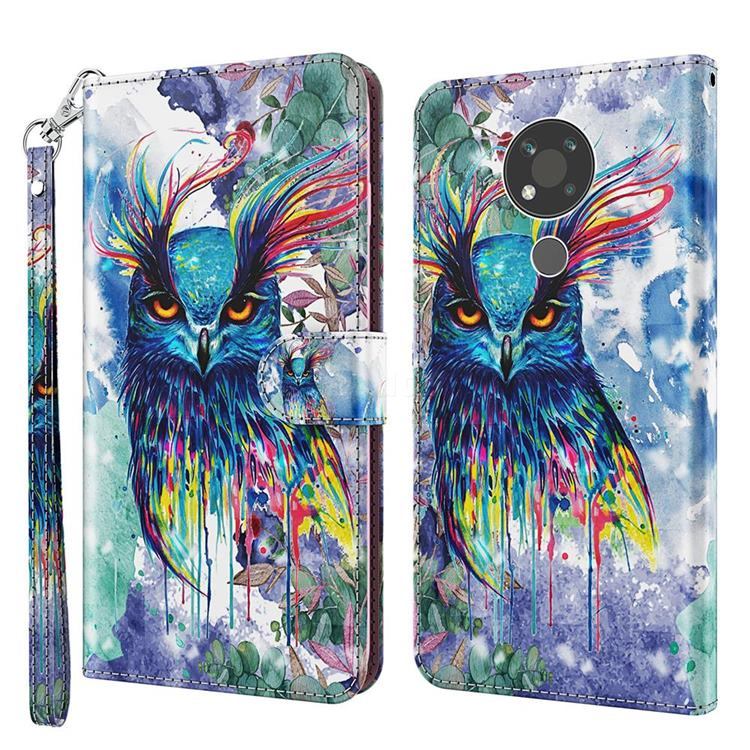 Watercolor Owl 3D Painted Leather Wallet Case for Nokia 3.4