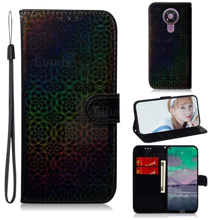 Laser Circle Shining Leather Wallet Phone Case for Nokia 3.4 - Black