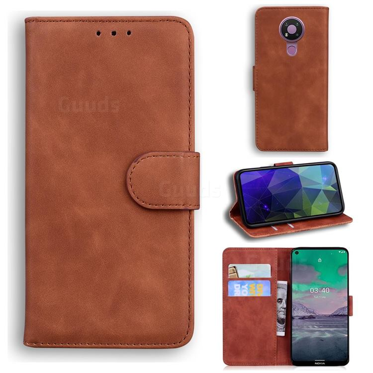 Retro Classic Skin Feel Leather Wallet Phone Case for Nokia 3.4 - Brown