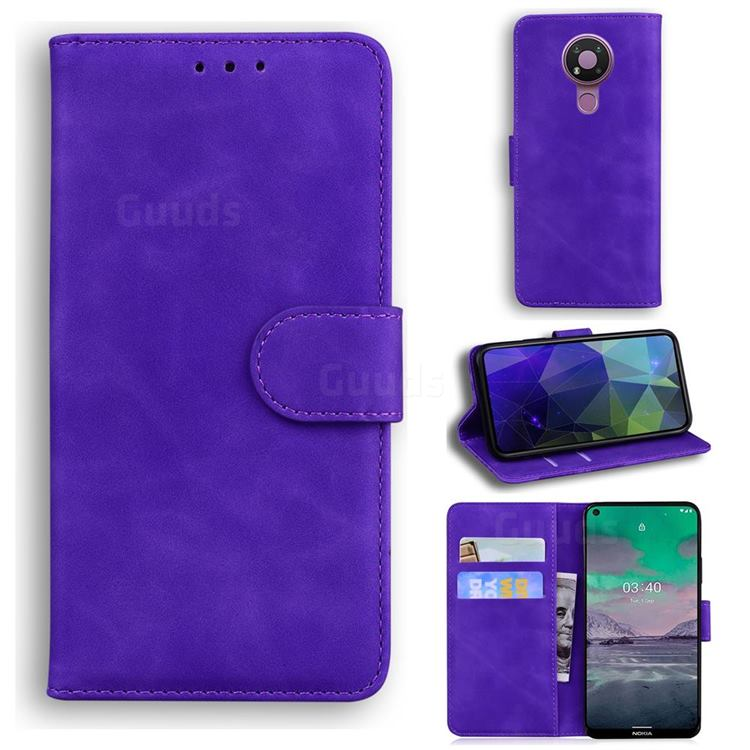 Retro Classic Skin Feel Leather Wallet Phone Case for Nokia 3.4 - Purple
