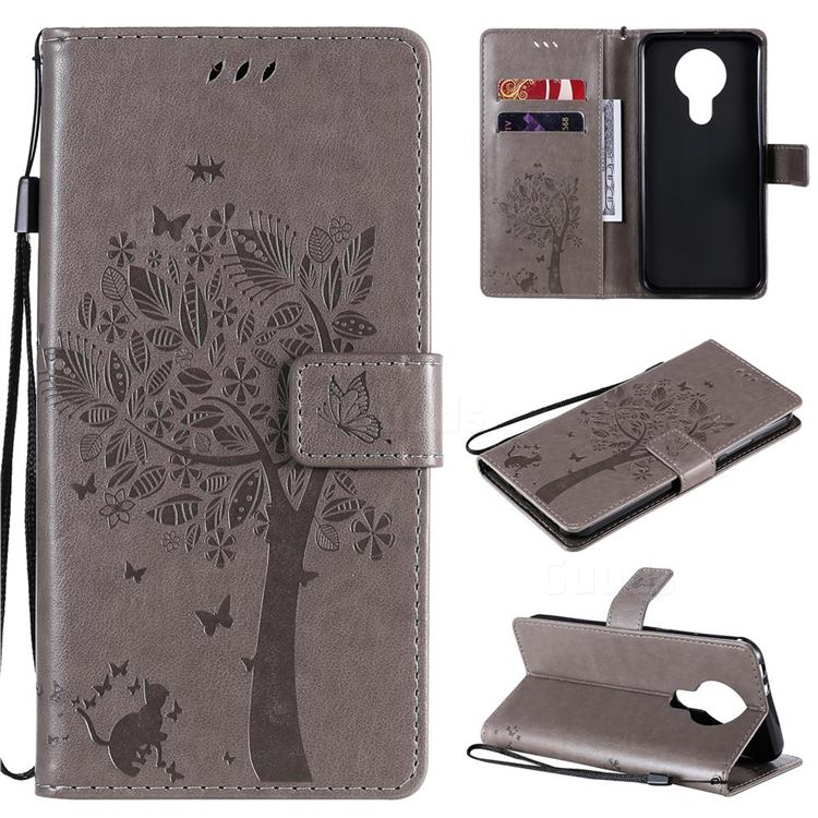Embossing Butterfly Tree Leather Wallet Case for Nokia 3.4 - Grey