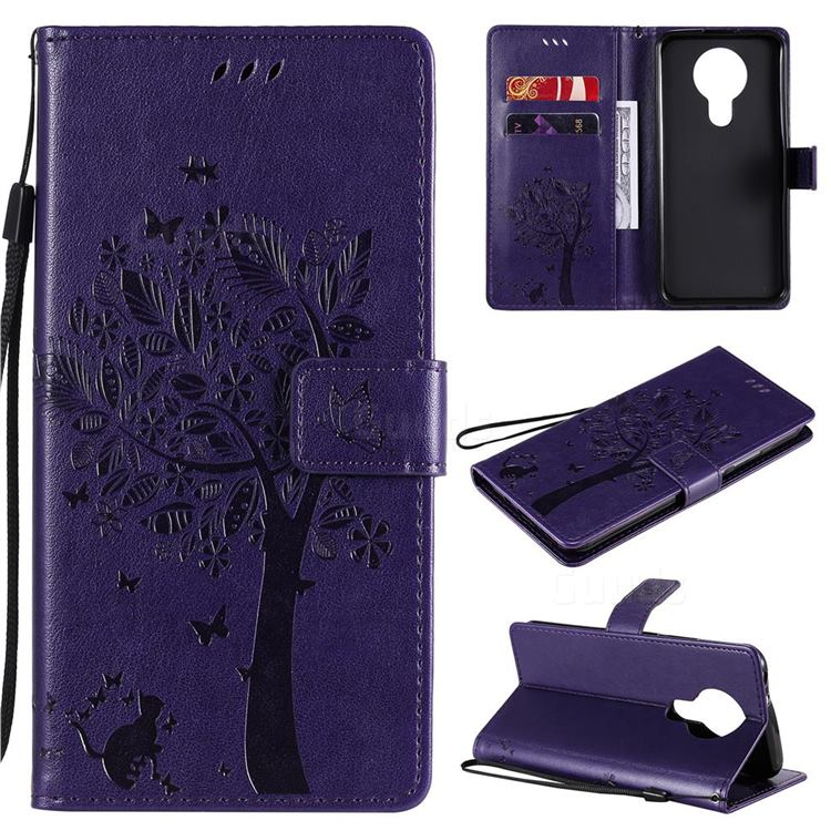 Embossing Butterfly Tree Leather Wallet Case for Nokia 3.4 - Purple
