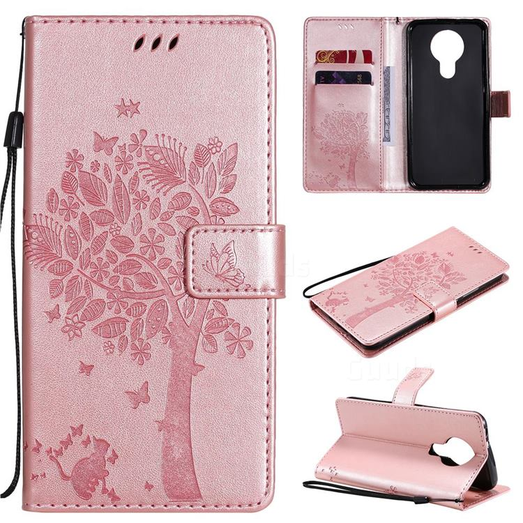 Embossing Butterfly Tree Leather Wallet Case for Nokia 3.4 - Rose Pink