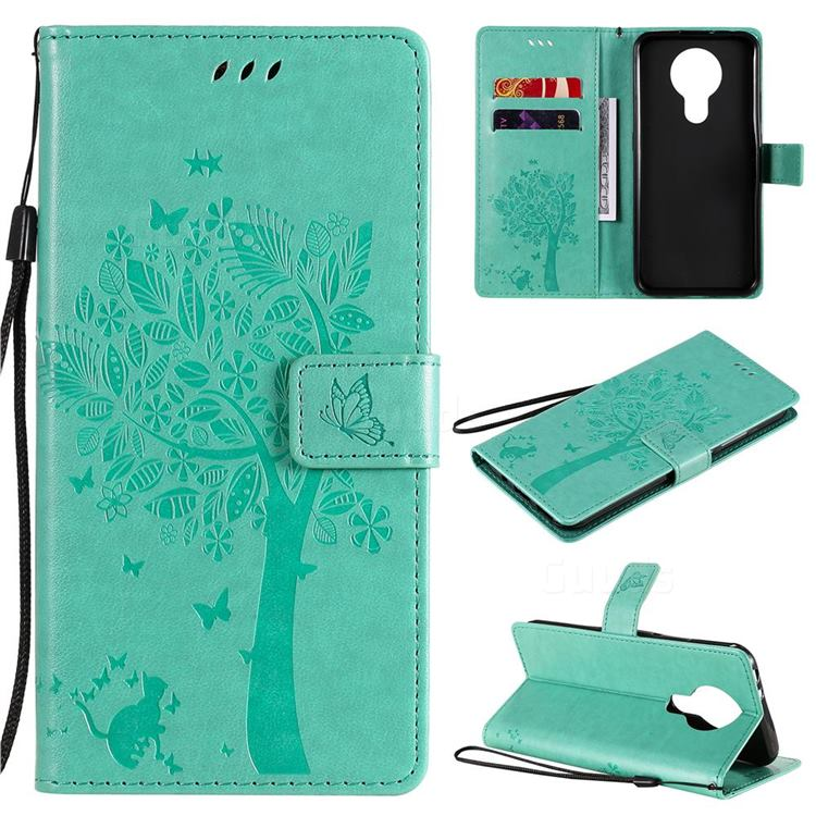 Embossing Butterfly Tree Leather Wallet Case for Nokia 3.4 - Cyan