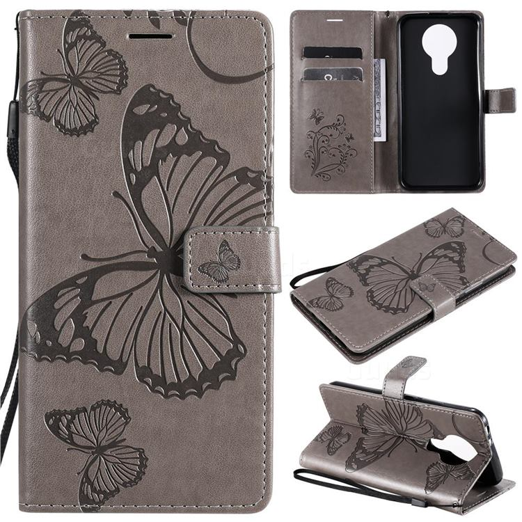 Embossing 3D Butterfly Leather Wallet Case for Nokia 3.4 - Gray