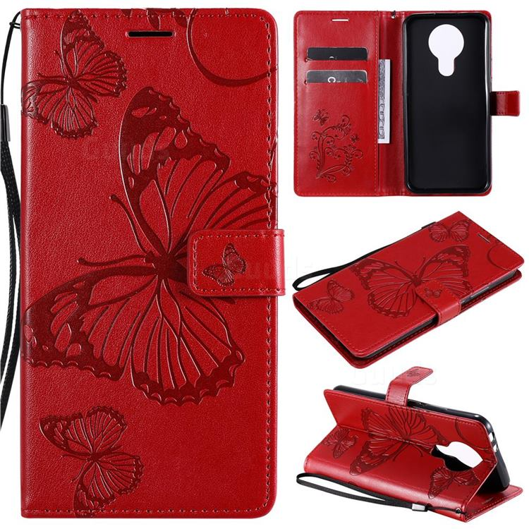 Embossing 3D Butterfly Leather Wallet Case for Nokia 3.4 - Red