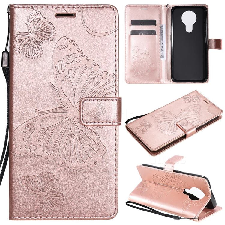 Embossing 3D Butterfly Leather Wallet Case for Nokia 3.4 - Rose Gold