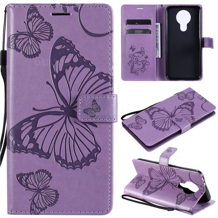 Embossing 3D Butterfly Leather Wallet Case for Nokia 3.4 - Purple