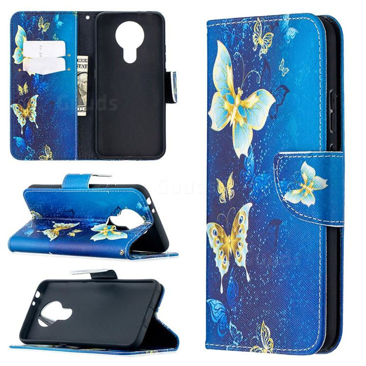 Golden Butterflies Leather Wallet Case for Nokia 3.4
