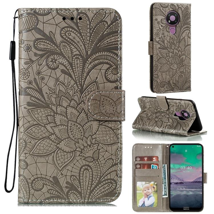 Intricate Embossing Lace Jasmine Flower Leather Wallet Case for Nokia 3.4 - Gray