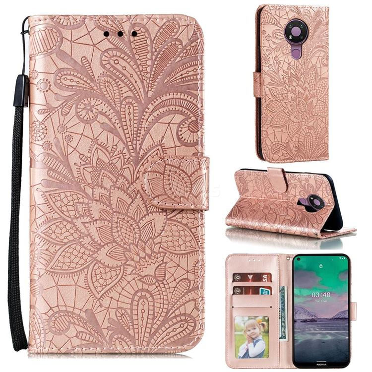 Intricate Embossing Lace Jasmine Flower Leather Wallet Case for Nokia 3.4 - Rose Gold