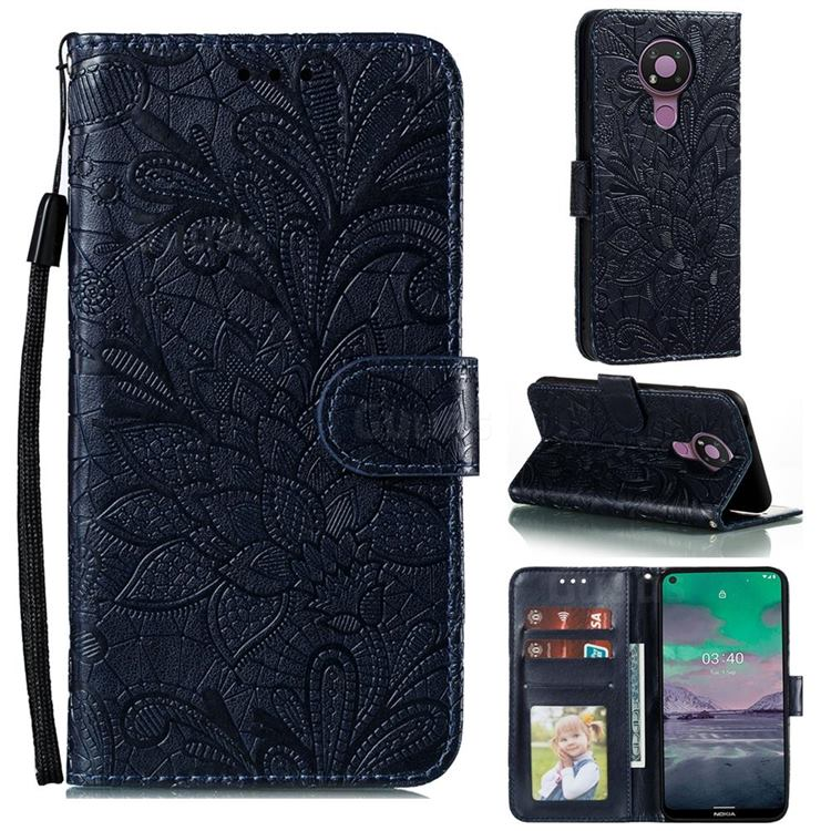 Intricate Embossing Lace Jasmine Flower Leather Wallet Case for Nokia 3.4 - Dark Blue