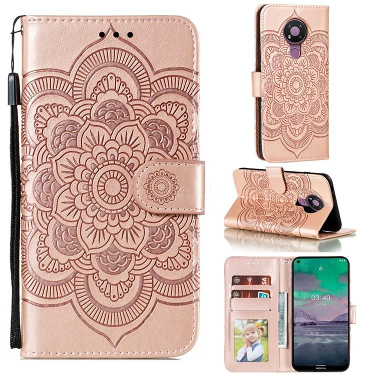 Intricate Embossing Datura Solar Leather Wallet Case for Nokia 3.4 - Rose Gold