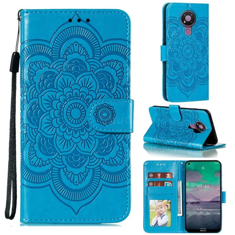 Intricate Embossing Datura Solar Leather Wallet Case for Nokia 3.4 - Blue