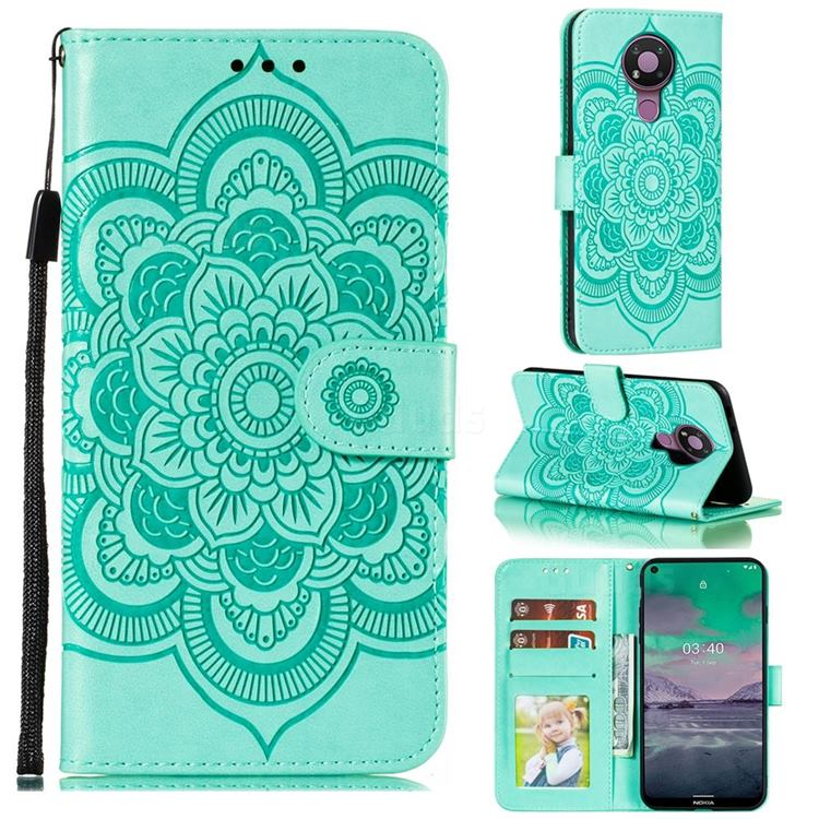 Intricate Embossing Datura Solar Leather Wallet Case for Nokia 3.4 - Green