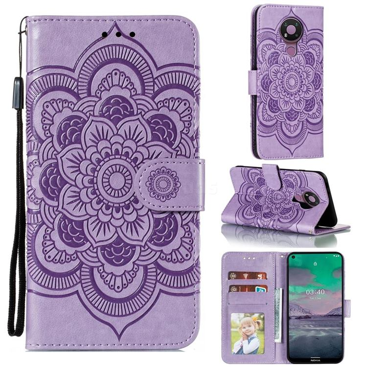 Intricate Embossing Datura Solar Leather Wallet Case for Nokia 3.4 - Purple