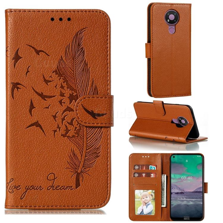Intricate Embossing Lychee Feather Bird Leather Wallet Case for Nokia 3.4 - Brown