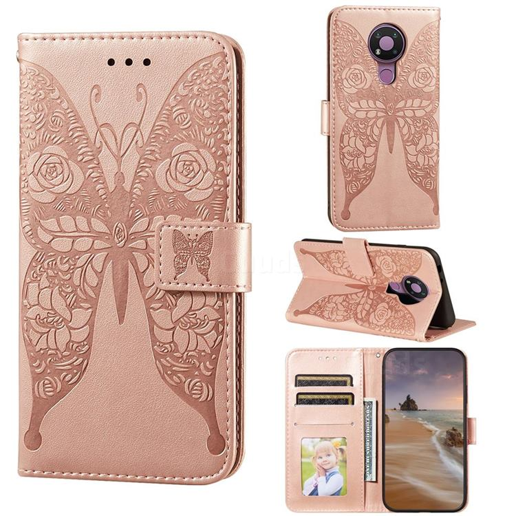 Intricate Embossing Rose Flower Butterfly Leather Wallet Case for Nokia 3.4 - Rose Gold