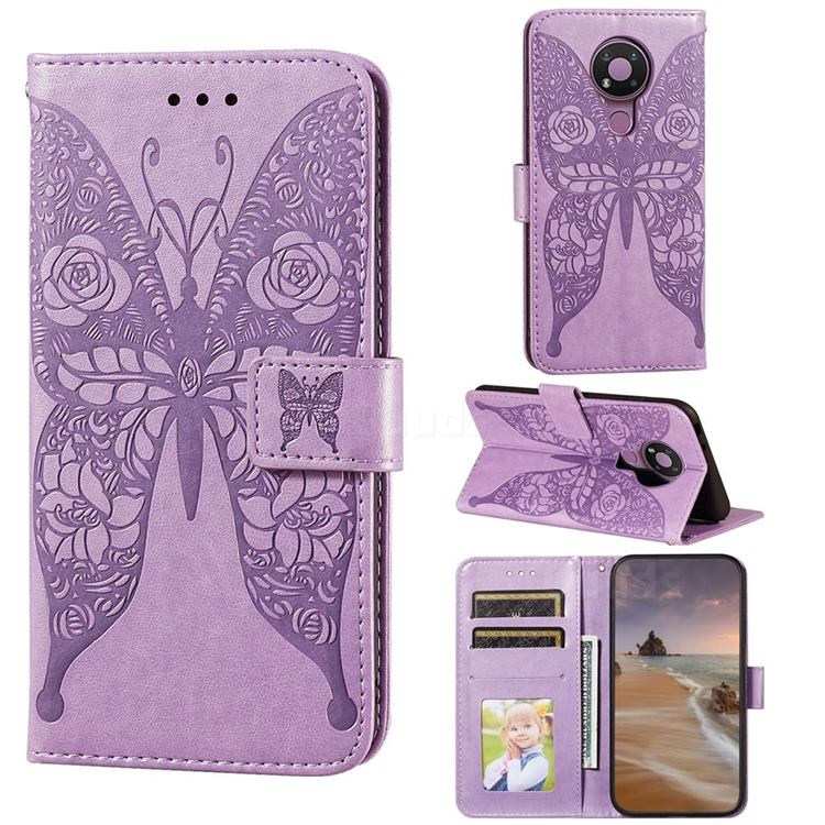 Intricate Embossing Rose Flower Butterfly Leather Wallet Case for Nokia 3.4 - Purple