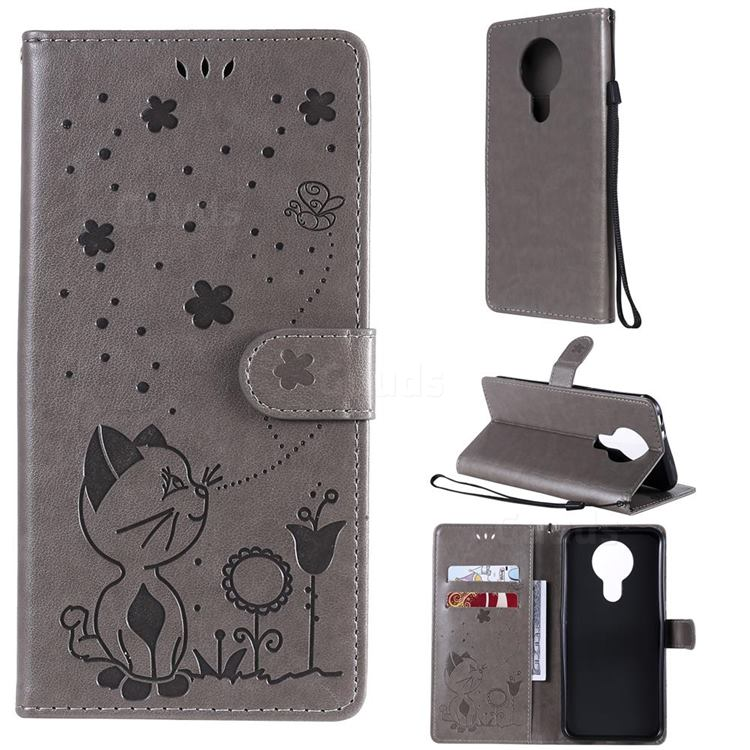 Embossing Bee and Cat Leather Wallet Case for Nokia 3.4 - Gray