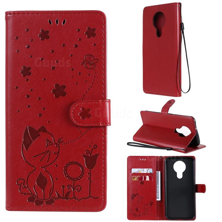 Embossing Bee and Cat Leather Wallet Case for Nokia 3.4 - Red
