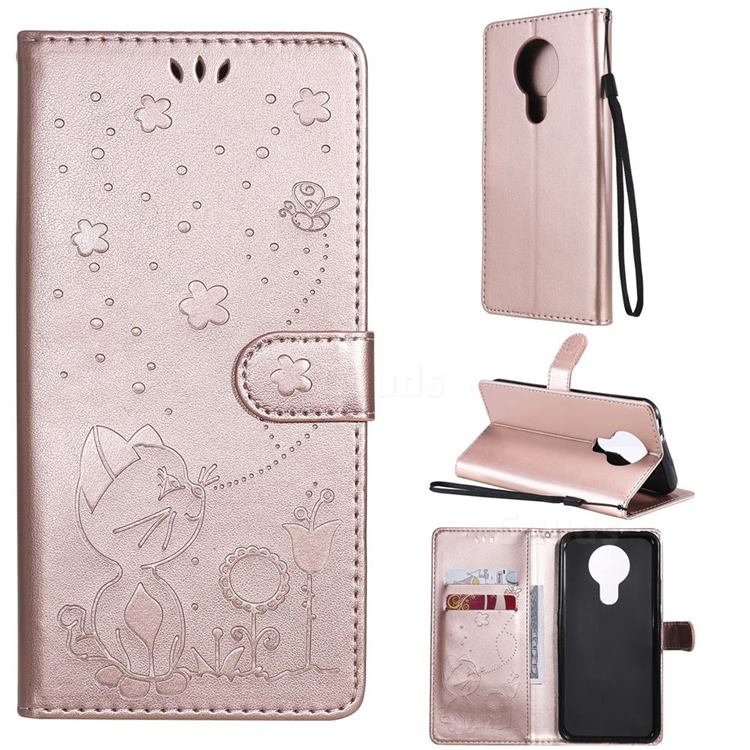 Embossing Bee and Cat Leather Wallet Case for Nokia 3.4 - Rose Gold