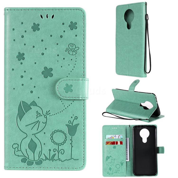 Embossing Bee and Cat Leather Wallet Case for Nokia 3.4 - Green
