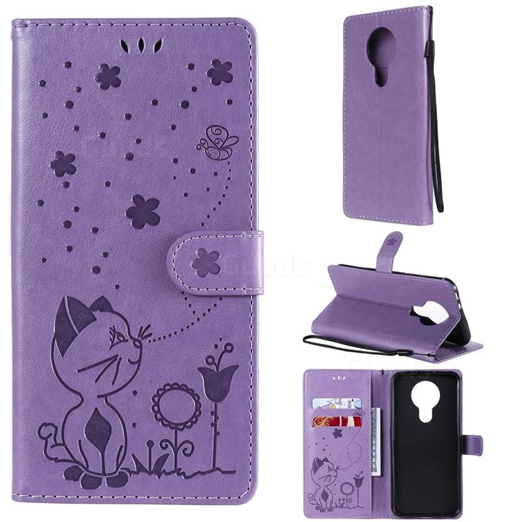 Embossing Bee and Cat Leather Wallet Case for Nokia 3.4 - Purple