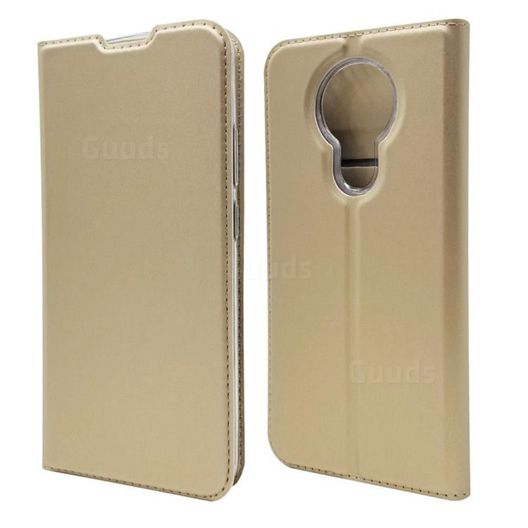 Ultra Slim Card Magnetic Automatic Suction Leather Wallet Case for Nokia 3.4 - Champagne