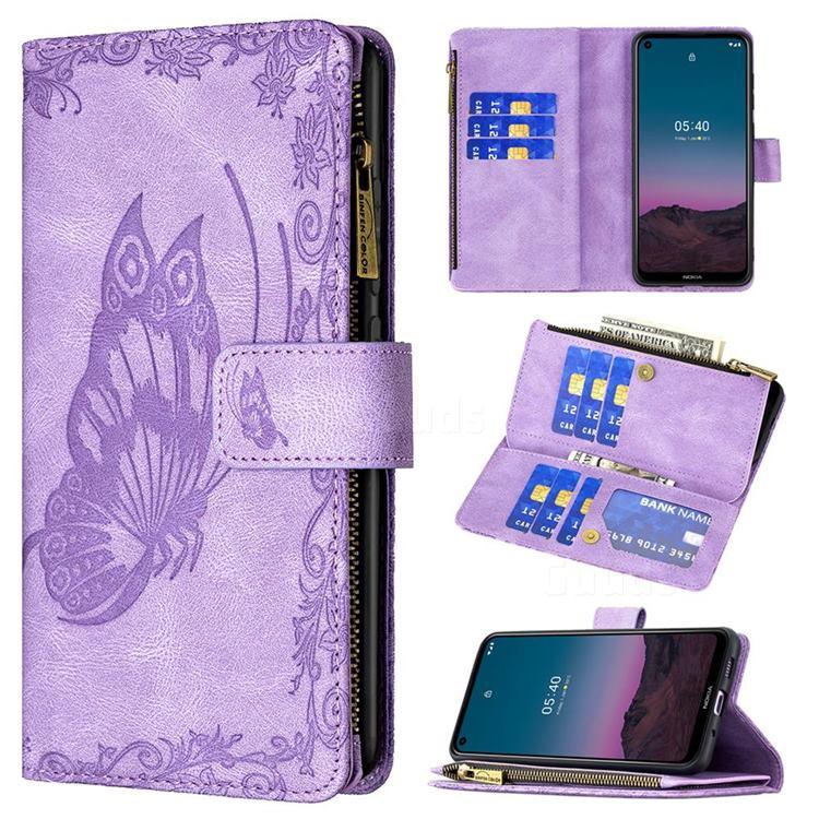 Binfen Color Imprint Vivid Butterfly Buckle Zipper Multi-function Leather Phone Wallet for Nokia 3.4 - Purple
