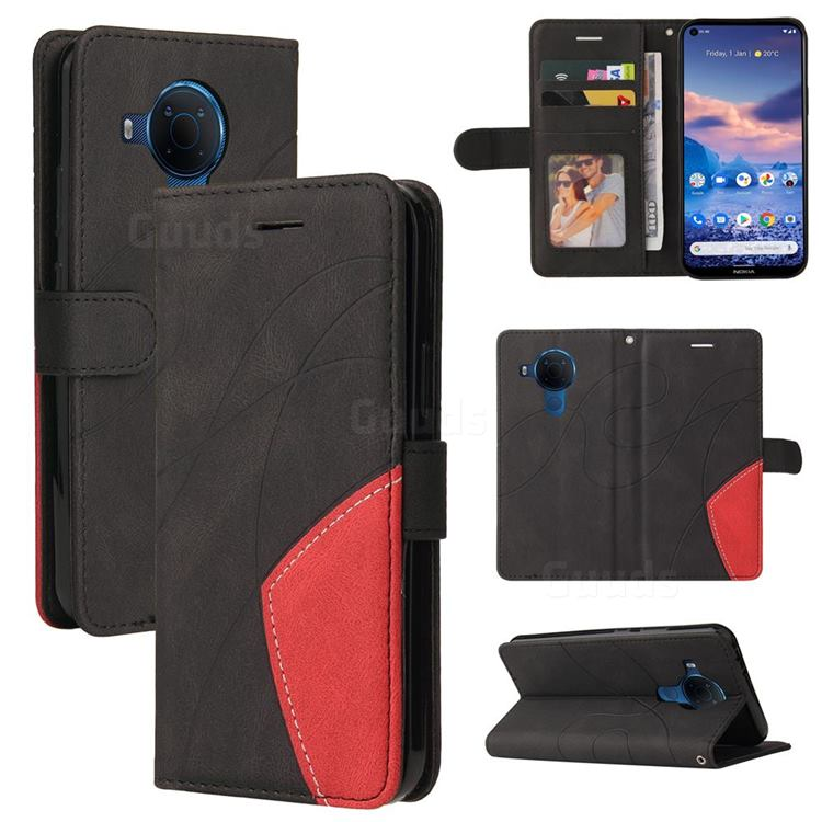 Luxury Two-color Stitching Leather Wallet Case Cover for Nokia 3.4 - Black