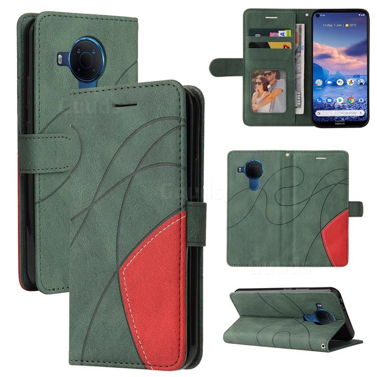 Luxury Two-color Stitching Leather Wallet Case Cover for Nokia 3.4 - Green