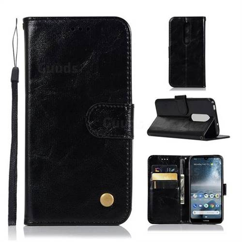 Luxury Retro Leather Wallet Case for Nokia 4.2 - Black