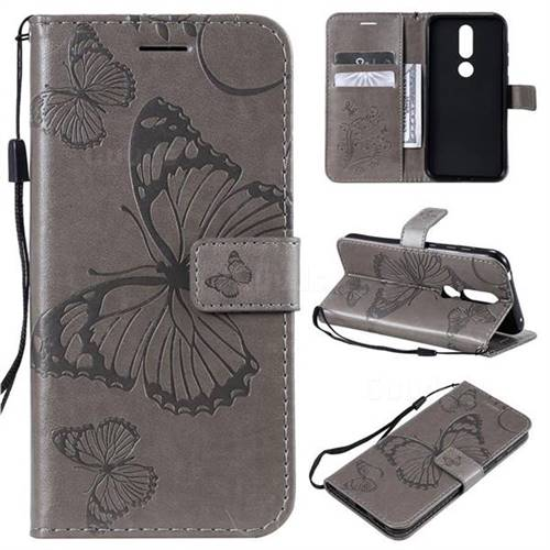 Embossing 3D Butterfly Leather Wallet Case for Nokia 4.2 - Gray