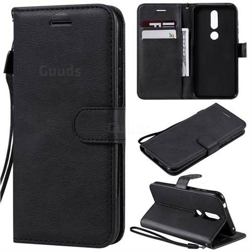 Retro Greek Classic Smooth PU Leather Wallet Phone Case for Nokia 4.2 - Black