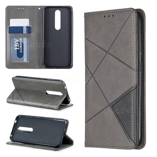 Prismatic Slim Magnetic Sucking Stitching Wallet Flip Cover for Nokia 4.2 - Gray