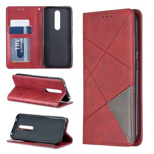 Prismatic Slim Magnetic Sucking Stitching Wallet Flip Cover for Nokia 4.2 - Red