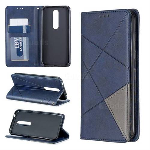 Prismatic Slim Magnetic Sucking Stitching Wallet Flip Cover for Nokia 4.2 - Blue