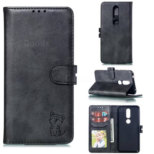 Embossing Happy Cat Leather Wallet Case for Nokia 4.2 - Black