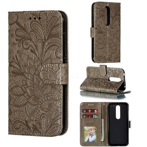 Intricate Embossing Lace Jasmine Flower Leather Wallet Case for Nokia 4.2 - Gray