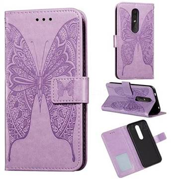 Intricate Embossing Vivid Butterfly Leather Wallet Case for Nokia 4.2 - Purple