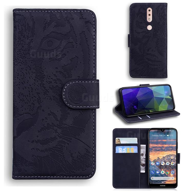 Intricate Embossing Tiger Face Leather Wallet Case for Nokia 4.2 - Black