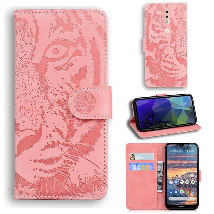 Intricate Embossing Tiger Face Leather Wallet Case for Nokia 4.2 - Pink