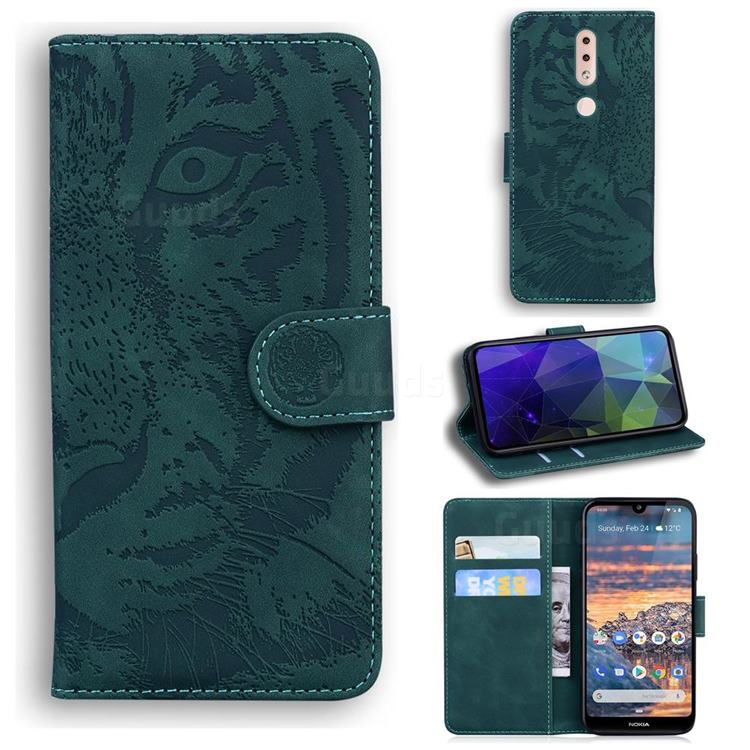 Intricate Embossing Tiger Face Leather Wallet Case for Nokia 4.2 - Green
